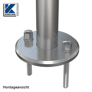Montageansicht Edelstahl Ronde 125x10 mm mit 45° - Fase, zum rückseitigen Verschweißen von Rohr 42,4 mm mit 3 Langlöchern Montage mit Gewindestangen M10 und Hutmuttern