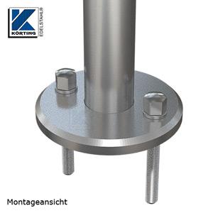 Edelstahl Ronde 125x12 mm zum rückseitigen Verschweißen von Rohr 42,4 mm zur Montage mit Gewindestangen M10