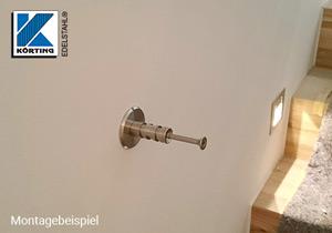 Edelstahl Ronde ø60x5 mm mit Loch + Vertiefung - Montagebeispiel Handlaufhalter