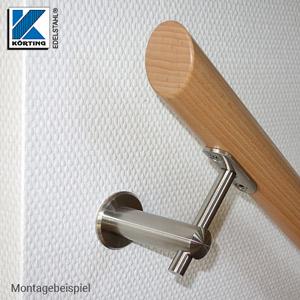 Handlaufhalter aus Edelstahl, gerade, mit Anschraubplatte - Montagebeispiel Befestigung eines Holzhandlaufes