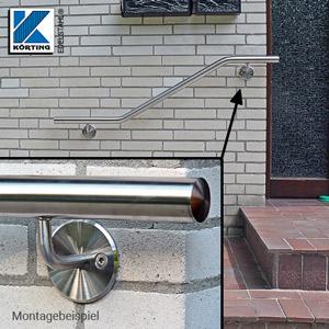 Handlaufhalter gebogen, zum Anschschweißen, Ronde mit Fase und überdrehter Oberfläche am gebogenen Handlaufträger verschraubt - Montagebeispiel