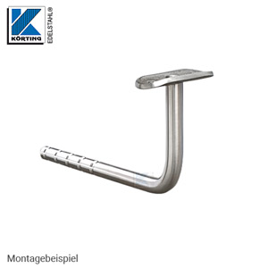 Handlaufhalter 90° gebogen zum Einkleben, mit Anschraubplatte für Rohr 42,4 mm