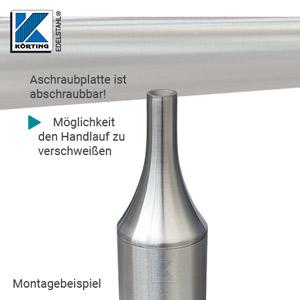 Handlaufstütze ohne Anschraubplatte - Möglichkeit zum Verschweißen am Handlauf