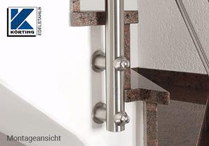 Montagebeispiel für den Einsatz des Pfostenhalters in Verbindung mit einem Distanzstück und einer Auflageronde aus Edelstahl