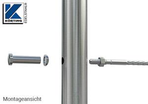 Radienscheibe D18 aus Edelstahl mit einer Fräsung für Rohr 42,4 mm und einer Durchgangsbohrung 12 mm - Montage