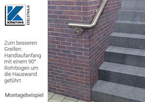 Edelstahl Rohrbogen 90° - Montagebeispiel Wandhandlauf - Anfang Eingangstreppe