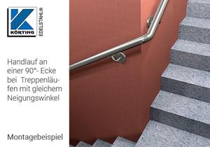 Rohrbogen 90 ° verdrehbar,  Montagebeispiel Wandhandlauf um Fahrstuhlschacht