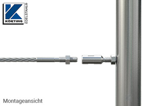 Seilspanner mit Aussengewinde M8 rechts und Innengewinde M8 links - Montage