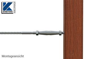 Seilspanner mit Innengewinde M8 links und rechts - Montag an Holzbalken