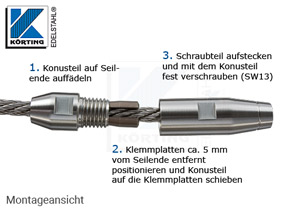 Seilverschraubung mit Rechtsgewinde aus Edelstahl zur Selbstmontage auf Seil 6 mm - Montage