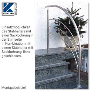 Treppengeländer an Eingangstreppe aus Edelstahl mit in Pfostenachse montierten Querstreben